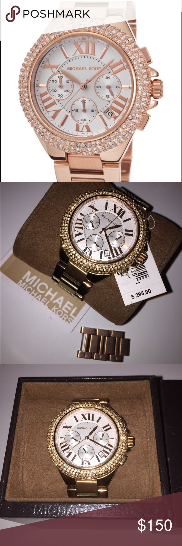 Michael Kors Rose Gold Watch Women's/Ladies Michael Kors Rose rose gold watch for sale, no trade🙅🏼 A few very small scratches but hardly noticeable and the original links are in the box for size adjustments. All stones(diamonds) are intact!! I haven't worn it in a long time so am looking to sell, still have original tag/box/links. Originally bought for $295. Michael Kors Jewelry Bracelets