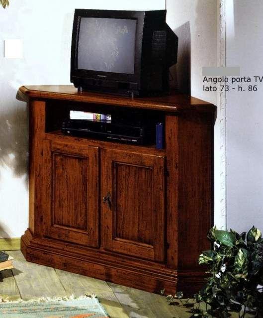 Mobile angolo porta tv in legno con 2 ante teak massello