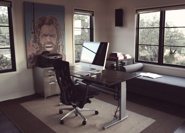 Office Workspace. Rustic Office Design With Convenience High Back Black  Chairs Over Contemporary Wall Picture