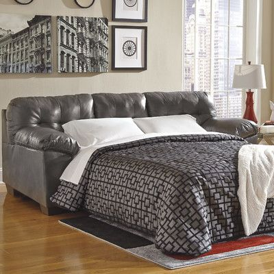 Modern Sectional Sofas Lowest price online on all Ashley Furniture Alliston Leather Queen Sleeper Sofa in Gray