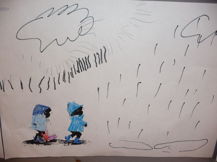 Map juf Ineke: Jip en Janneke, een werkje voor jongste kleuters die regen, wolken en plassen mogen tekenen.