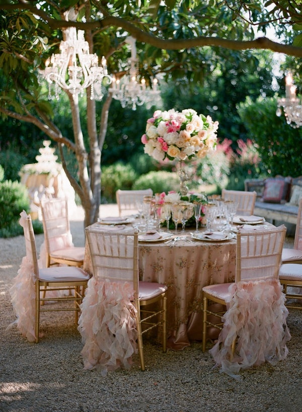 a-girl-can-dream-3: Ruffle, Idea, Wedding Receptions, Tables Sets, Pink, Bridal Shower, Gardens Parties, Chairs Covers, Teas Parties