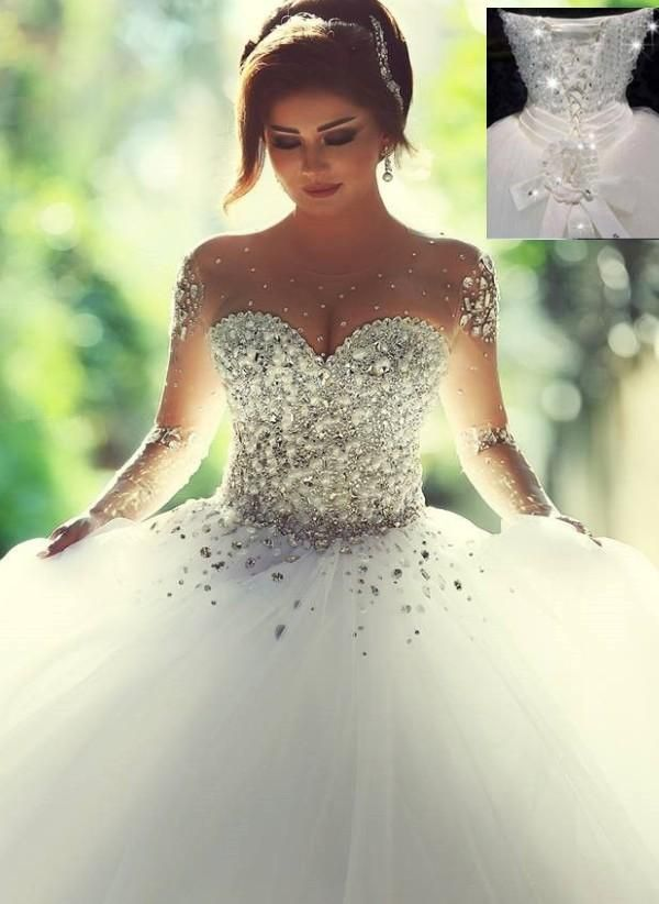 Wedding Lace 2015 Gorgeous Bling Bling Wedding Dresses With Superb Beadeds Crystal Sheer Bridal Wedding Gowns Long Sleeves Ball Gown New Wedding Dress Short Wedding Gowns From Weddingplanning, $419.8| Dhgate.Com