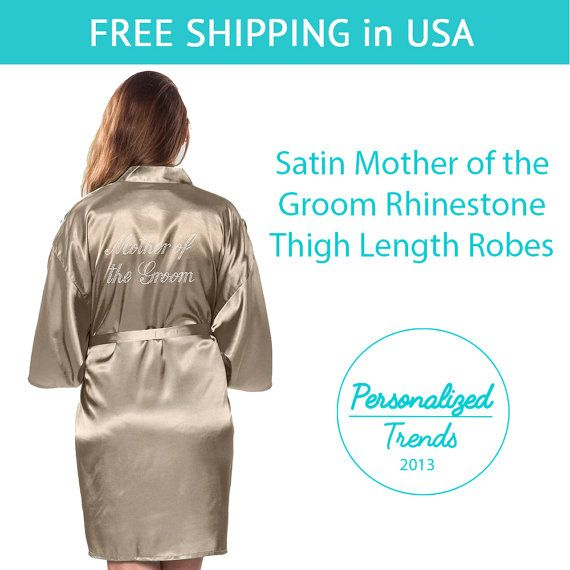 Taupe Satin Mother of the Groom Thigh Length by PersonalizedTrends