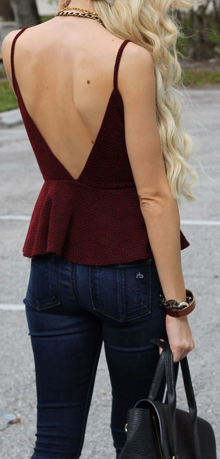 Sexy Back ... by A spoonful of Style. Two of my favorite things, open back and peplum, I must get this shirt please