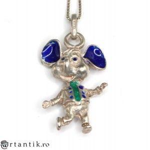 colier cu pandant Mickey Mouse - argint emailat - Italia