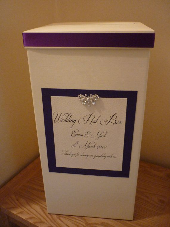 Ivory Personalised and Decorated Wedding Card Post Box, any colour. etsy