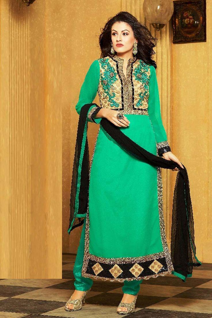 Green Georgette Party Wear Salwar Kameez