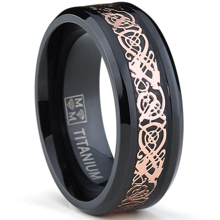 Fabulous Amazon MM Men us Black Titanium Wedding Band Ring with Pink Celtic Dragon Inlay