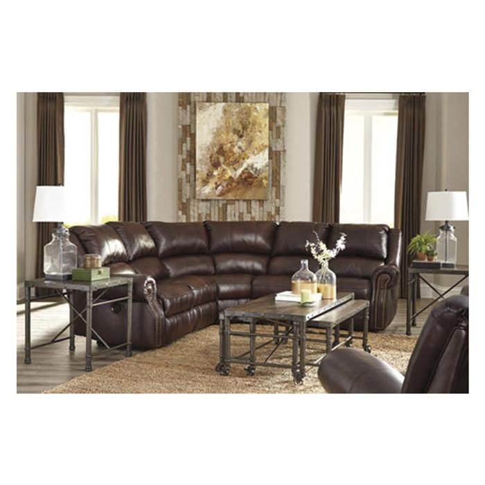 collnsville leather reclining sectional in chesnut nebraska furniture mart