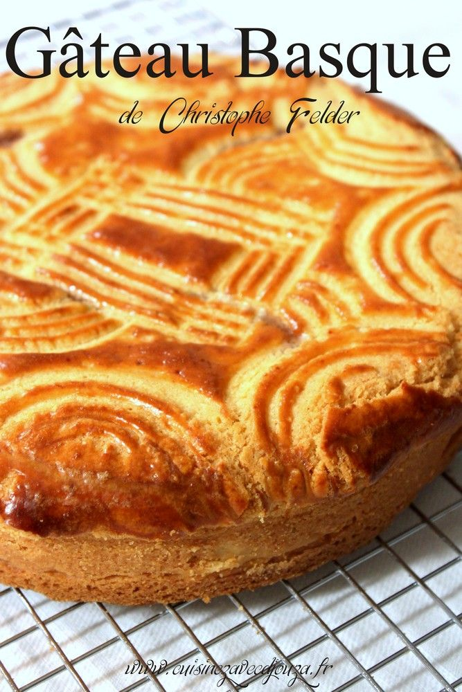 Gateau Basque is the French term for Basque cake. This is the classic Basque dessert. It has a crunchy tart-like exterior and a soft filling. It is made with an almond-flavored cream filling