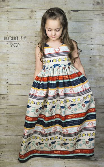 Beautiful, easy and modern girls sewing PDF patterns. sizes 2t -12 Lexis Maxi dress. Pockets. Strappy back