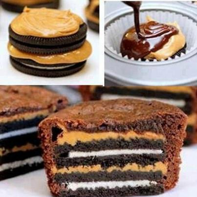 "Place Oreo biscuit in ""muffin liner"" as if you would prepare for baking muffins.    Pour spoonful caramel over biscuit.    Place another Oreo biscuit on top of the first biscuit.    Fill muffin liner with muffin mix/dough.    Bake as per recipe intruction.  Cool down & decorate."