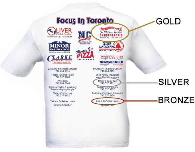 For T Shirt Sponsorship Levels Gold Sponsorship 175 Vbs