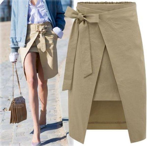 リボンの可愛い巻きスカート 裾丈アンバランス