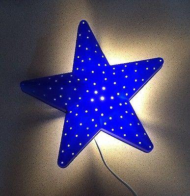 Ikea Smila Stjarna Blue Star Wall Lamp Night Light Bulb