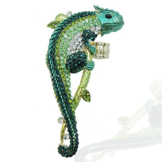 Gold-Tone Chameleon Austrian Crystal Animal Stretch Adjustable Ring A11777-1: