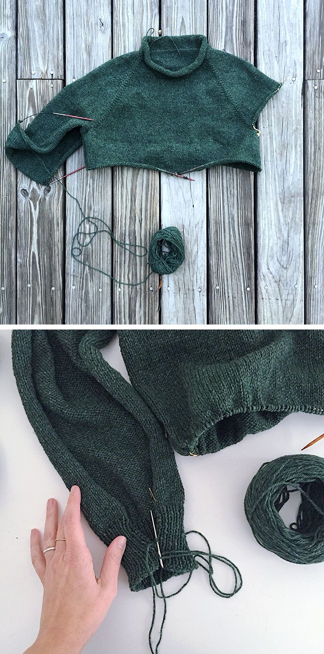 How (and why) to knit top-down sleeves flat | Fringe Association