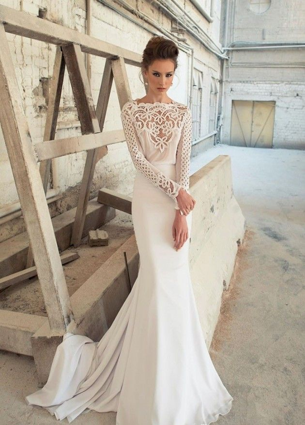 Gorgeous Wedding Dresses By Ada Hefetz 2014. Intricate lace neckline.