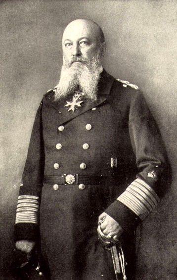 Alfred Von Tirpitz. Almirante de la Marina Imperial alemana y ministro alemán de Marina. Con un destacado papel en la I Guerra Mundial.