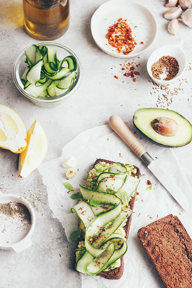 Spicy Avocado Cucumber Toast
