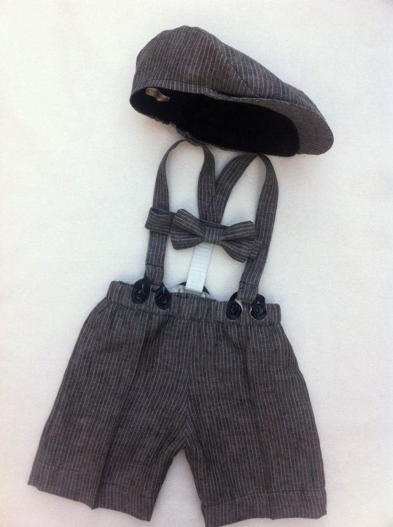 Newsboy Set - Boys flat cap - Linen shorts - Suspenders - Bow tie - Flat Cap - baby boy photo prop - ring bearer outfit. $104.00, via Etsy.