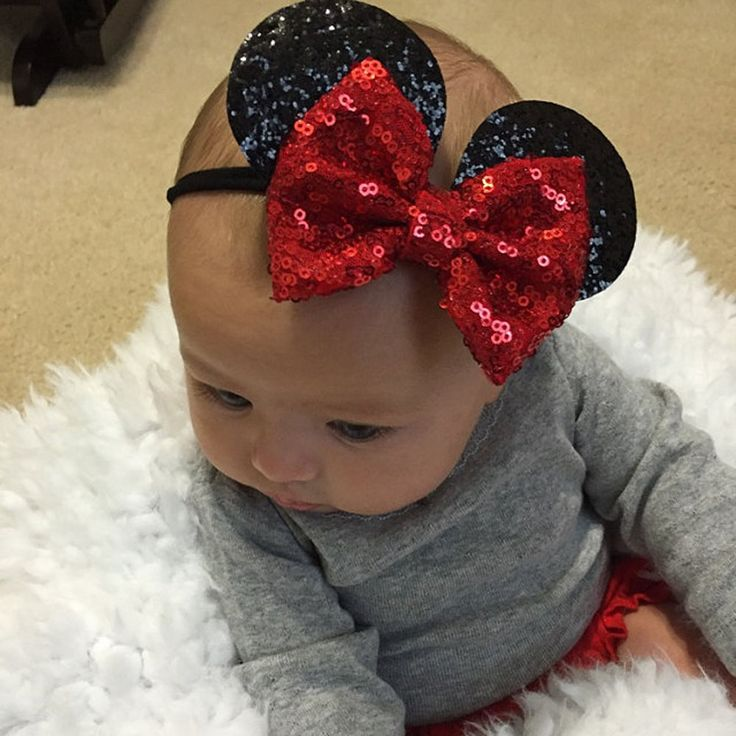 New Children's Nylon Headbands Minnie Mouse Ears Headband Hairbands Sequin Bowknot  Headwear for Kid's Elastic Hair Accessories