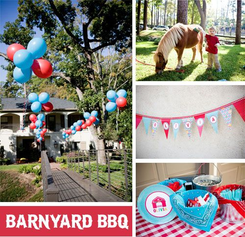 "One of the cutest ideas and execution for a ""barnyard bbq"" party"