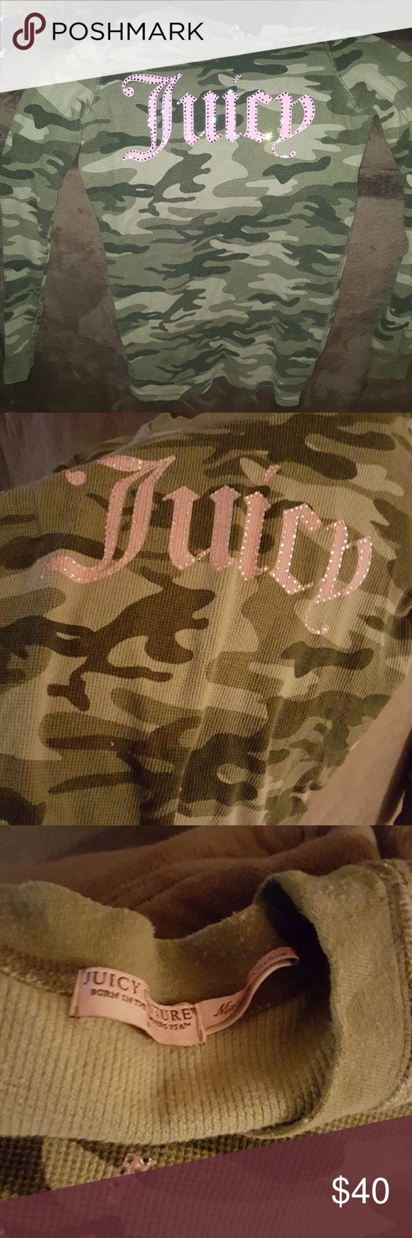 Juicy Couture  long dress camo shirt This is a like new camo Juicy Couture dress  shirt , with pink Juicy on front  this could be worn with tights, boots ,jeans,  anything. This is a very cute camo Juicy Couture Shirt,👠👖👗💍👒👚 Juicy Couture Tops Tunics