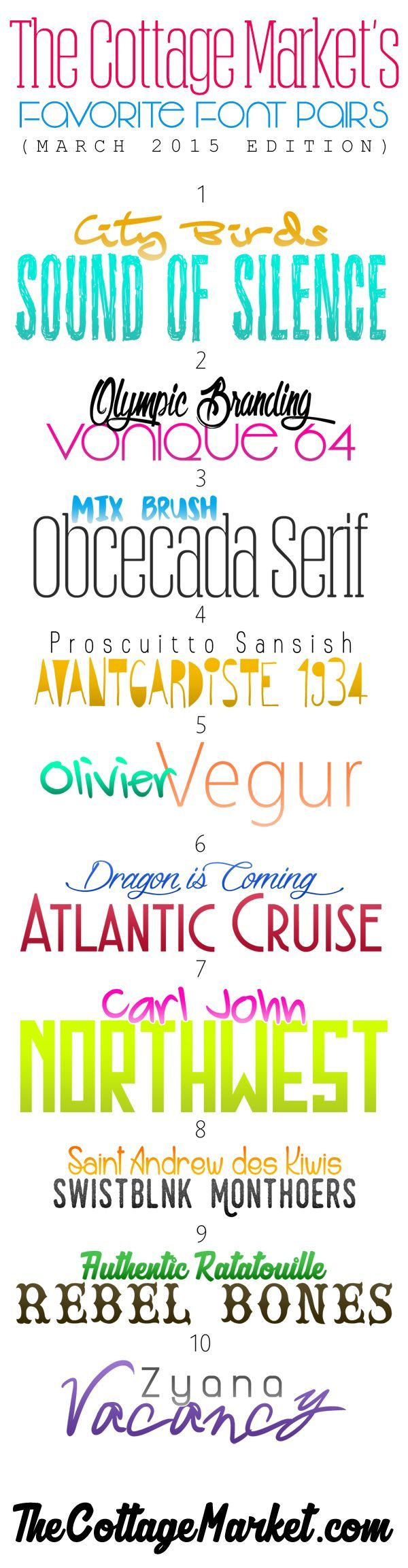 The Cottage Market's Favorite FREE Font Pairs {March 2015 Edition} /// FREE FONTS - The Cottage Market
