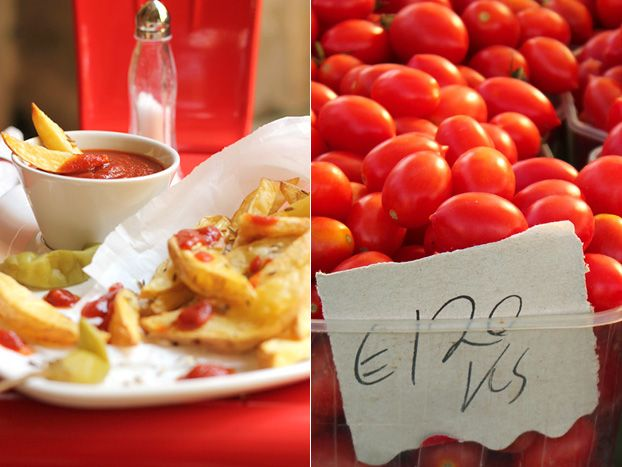 Maltese market tomatoes as homemade ketchup or passata, spiced up with wild fennel seed and mace