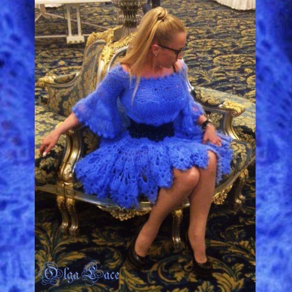 Купить или заказать Вязаное платье из воздушного кид мохера. в интернет-магазине на Ярмарке Мастеров. Восхитительное вязаное платье из воздушного кид мохера. Прекрасное платье для выхода в свет в холодное или прохладное время года. Связано крючком из кид мохера пр-ва Италия. Пышность юбки не оставит равнодушным никого. Ширина по подолу 9 метров. В комплекте с платьем широкий ремень ручной работы из натуральной кожи. Связан крючком.