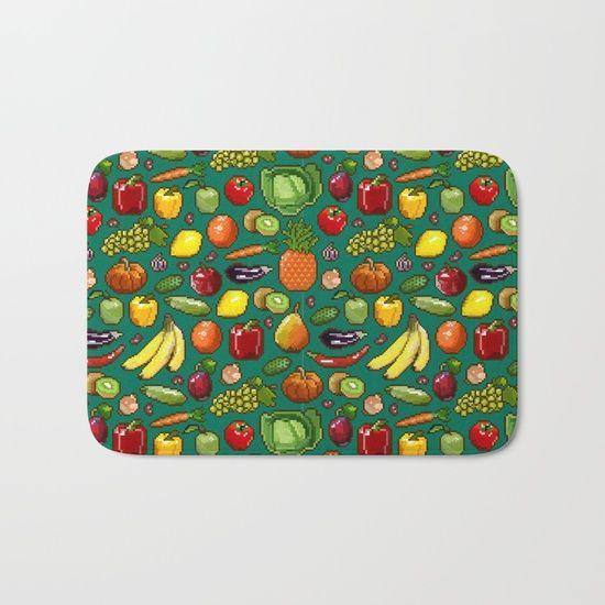 Набор пикселей изображения овощей и фруктов на зеленом фоне. Коврик Для Ванной