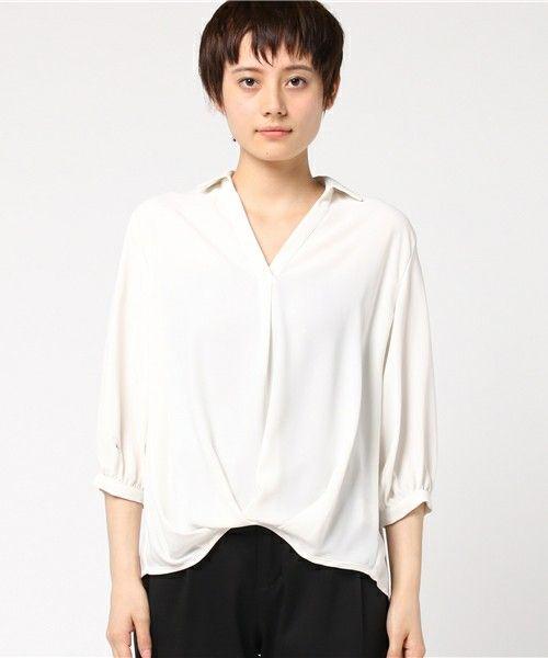 INGNI(イング)の「7分袖裾タックトロミスキッパーシャツ/レディーストップス-2017SS-(シャツ/ブラウス)」|詳細画像