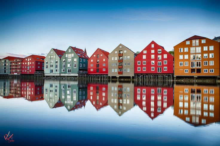 Reflection of the old piers in Trondheim