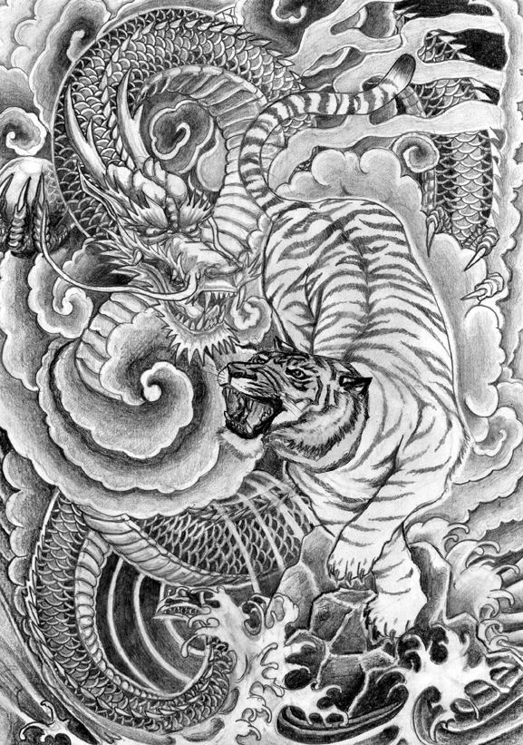 japanese ink painting dragon - Google Search