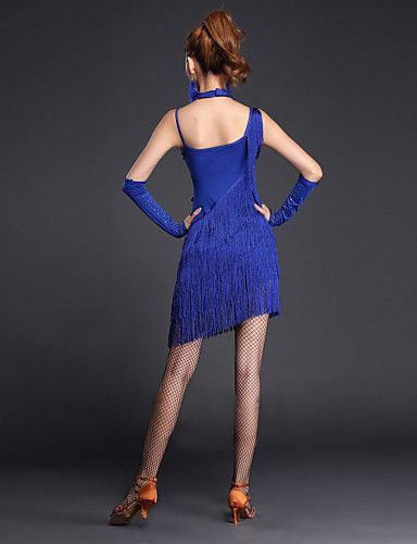 DESY Tenue(Bleu Royal,Elasthanne / Organza,Danse latine)Danse latine- pourFemme Paillettes / Rushé Spectacle Chaussures de Sport Taille moyenne , xl