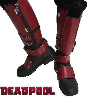 New Movie Deadpool Boots Deadpool Cosplay Costume Wade Pu Knee High Shoes Xcoser