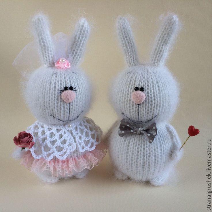 Купить Зайки Жених и Невеста. - белый, влюбленные, заяц, вязаная игрушка, вязаные зайцы