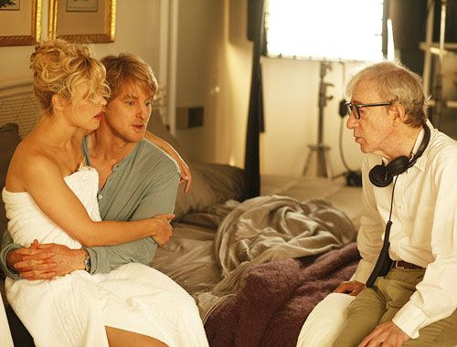 Woody Allen, Owen Wilson and Rachel McAdams on the set of Midnight in Paris (2011)