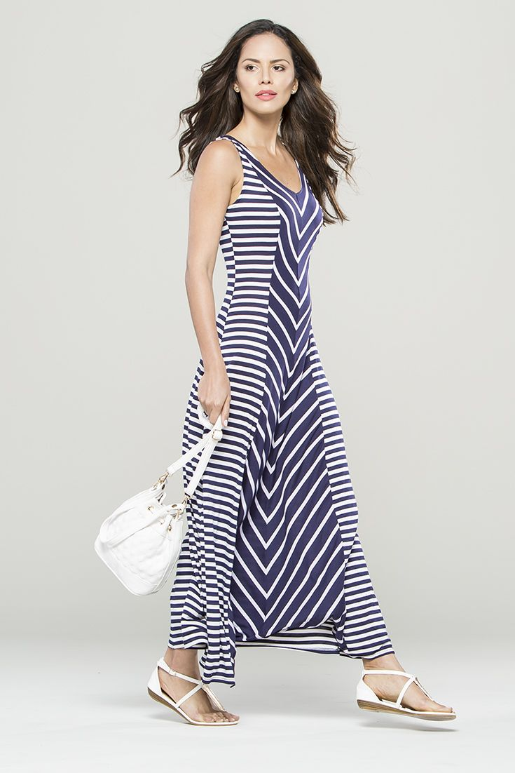 The stripe and the chevron mix. The body hugging stripe dress perfect for SS15. #miladys #stripes #dress #maxidress