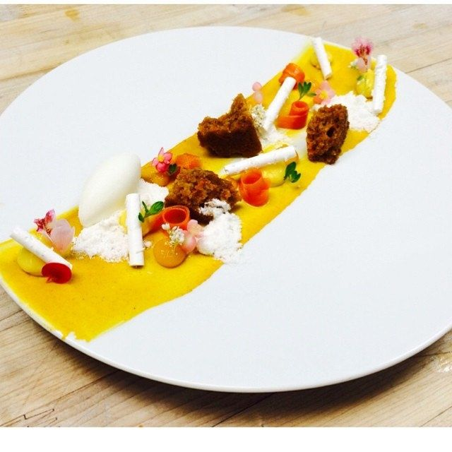 One of the desserts for the Miami Spice! Carrot Cake, Creme Cheese Sorbet, Carrot Ginger Cremeux, Passion Fruit Curd, Coconut Meringue #theartofplating #chefstalk   by Pastry Chef Antonio Bachour