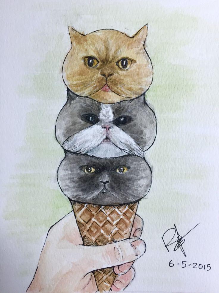 Three cat ice-cream of my friend   豆豆、圓圓、波波