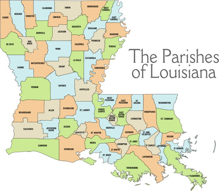 "Parish map -- Louisiana is the only state that has ""parishes"", and not ""counties"". Description from pinterest.com. I searched for this on bing.com/images"