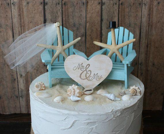 Ivory Adirondack Beach Wedding Chairs Cake Topper