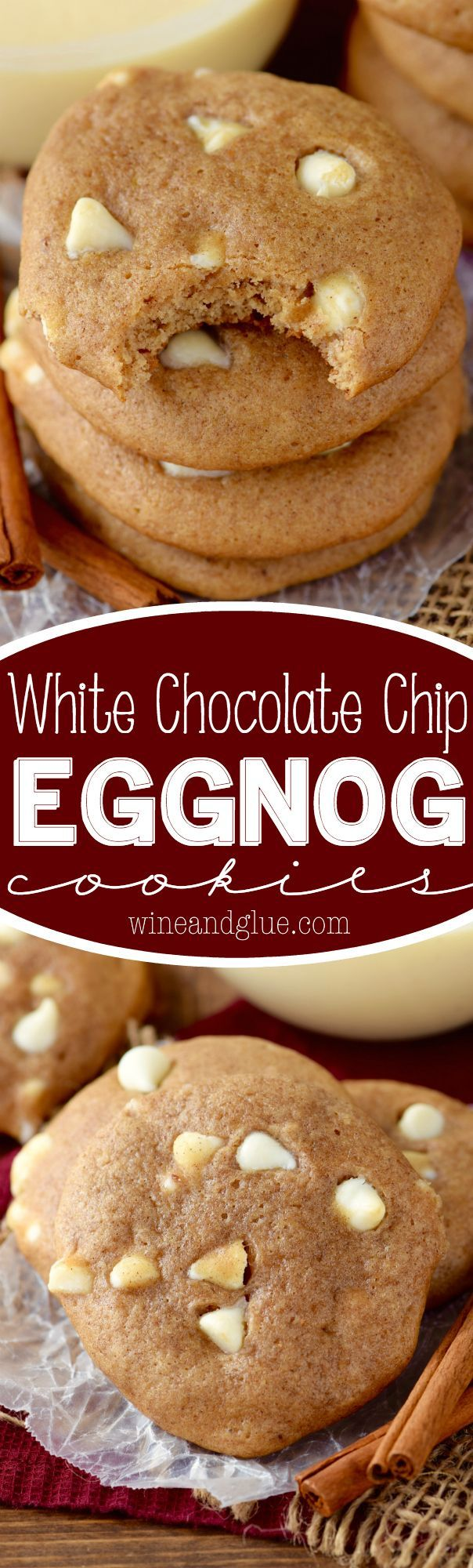 These White Chocolate Chip Eggnog Cookies are full of sweet spices and delicious eggnog taste! Chewy, soft, and delicious! Perfect holiday cookies! (Christmas Recipes Eggnog)