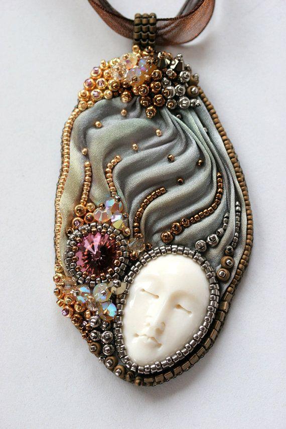 Shibori Beaded Necklace Beach Glass Romance by ZuziHake on Etsy