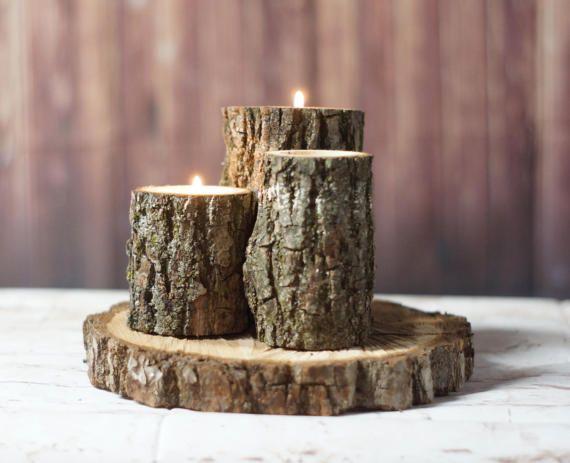 Wood Log Centerpiece : Homemade log candle holders inhabit zone