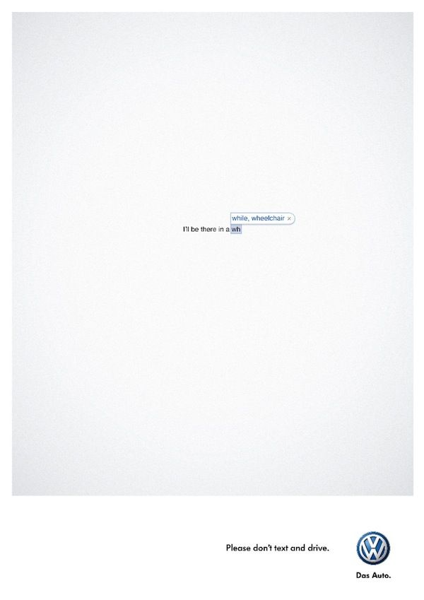 Volkswagen's Brilliant New Copy-Based Ads Reminds You Not To Text And Drive - DesignTAXI.com