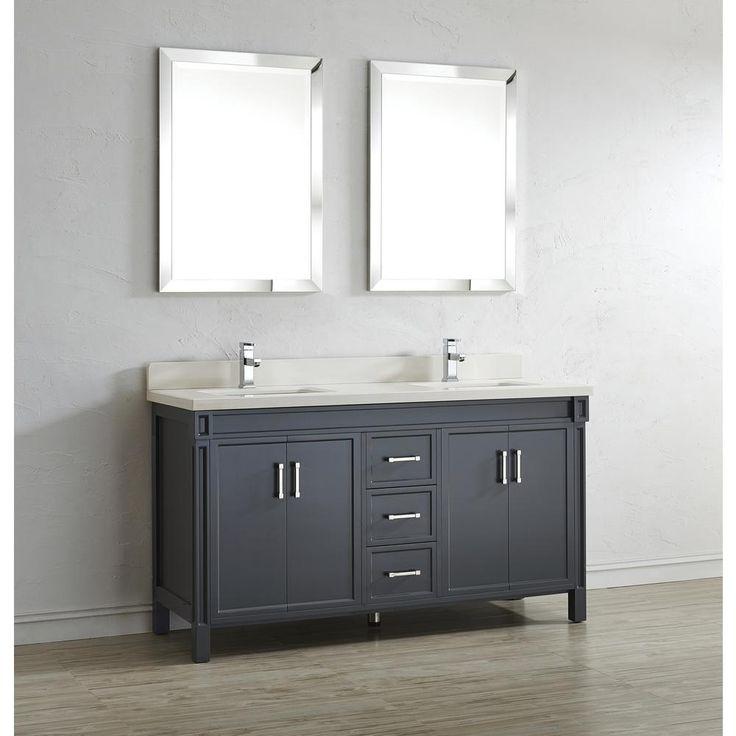 Studio Bathe Serrano 63 in. W x 22 in. D Vanity in Pepper Gray with Quartz Vanity Top in White with White Basin